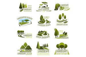 Landscape design company icon with green tree