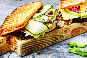 Sandwiches on cutting board