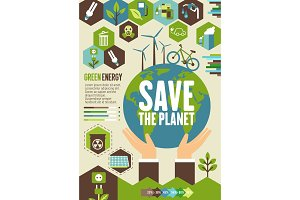 Green energy eco banner for ecology concept