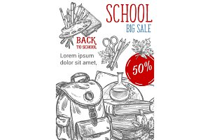 Back to School vector sketch autumn sale poster
