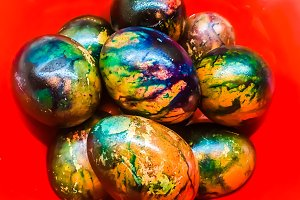 Easter eggs watercolor, photo