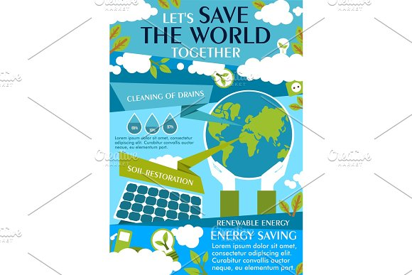 Save World Ecology Flat Banner For Eco Concept