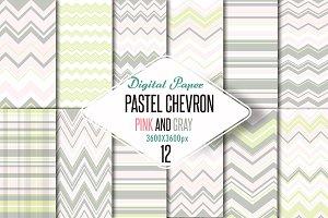 Pastel chevron pink-gray paper