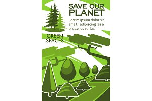 Save planet and nature resources eco banner design