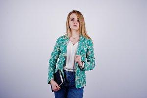 blonde businesswoman in studio