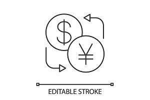 Dollar and yen currency exchange linear icon