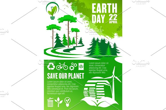 Earth Day Banner Of Save Our Planet Concept Design