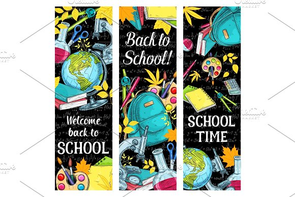 Back To School Vector Sketch Stationery Banners