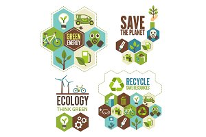 Ecology protection, green energy and recycle icon