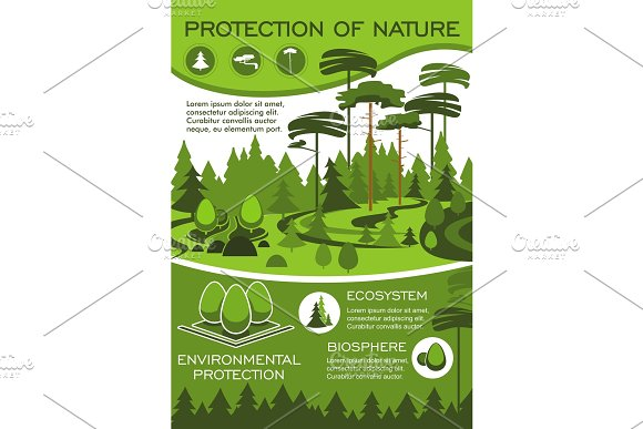 Green Nature Protection Poster For Eco Design