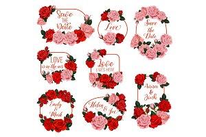 Springtime flowers vector frames for wedding