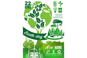 Earth Day holiday poster with green planet, tree
