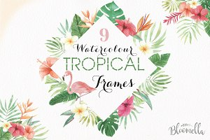 Tropical Watercolor Frames Flamingo
