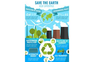 Save Earth Ecology poster for environment design