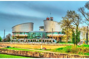 The European Court of Human Rights and a city tram in Strasbourg, France