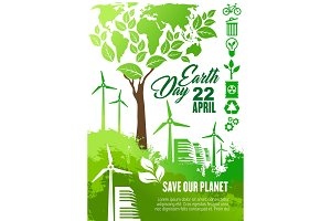 Earth Day celebration banner for ecology design