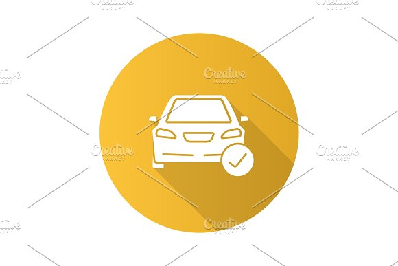 Car With Check Mark Flat Design Long Shadow Glyph Icon
