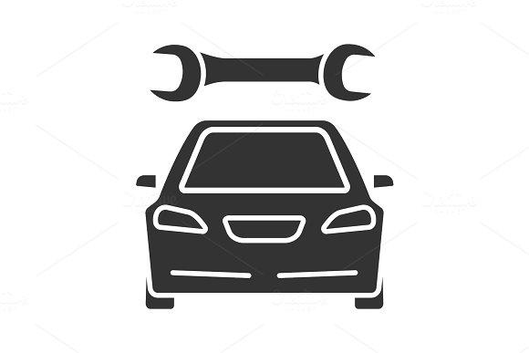 Car With Spanner Glyph Icon