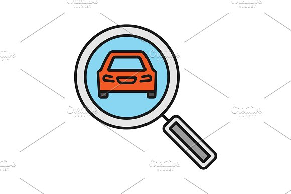 Magnifying Glass With Car Color Icon