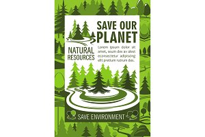 Save planet resources banner for ecology design