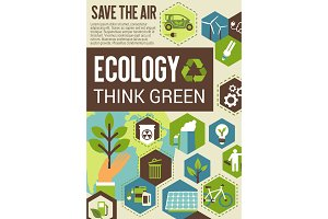 Think green eco banner for environment protection