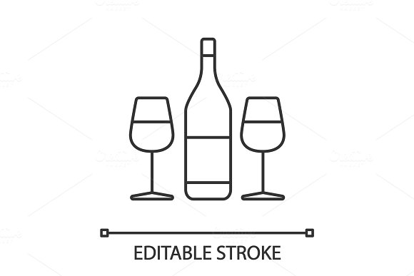 Wine And Two Glasses Linear Icon