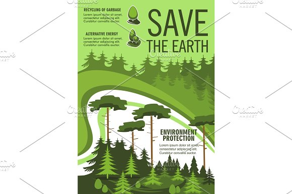 Save Earth Poster With Green Nature Ecology Tree