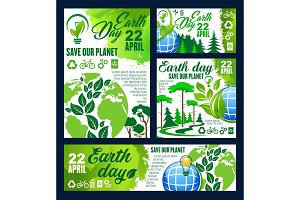 Earth Day greeting banner of ecology conservation