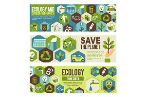Ecology and green energy eco banner design