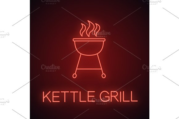 Kettle Barbecue Grill Neon Light Icon
