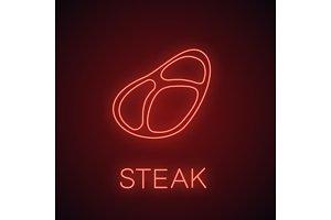Steak neon light icon