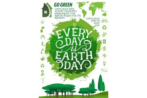 Earth Day banner with ecology protection icon