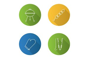 Barbecue flat linear long shadow icons set