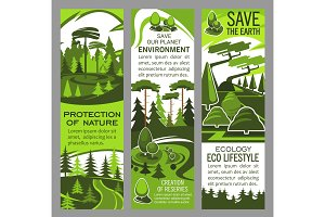 Environment protection banner of eco green nature