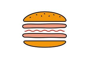 Burger cutaway color icon