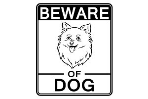 Beware of cute dog coloring vector illustration