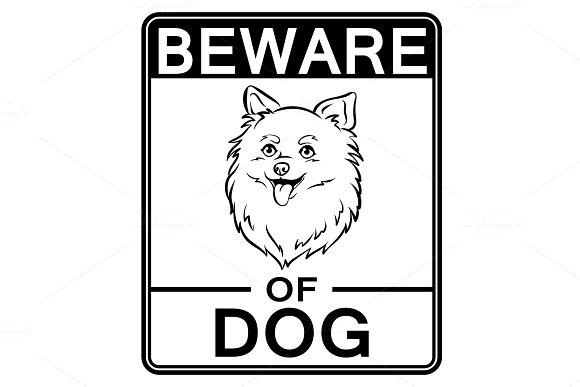 Beware Of Cute Dog Coloring Vector Illustration