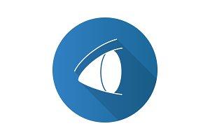 Human eye flat design long shadow glyph icon