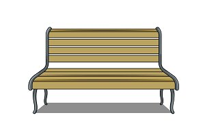 Bench isolated on white background pop art vector