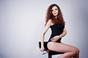 Brunette curly haired long legs girl