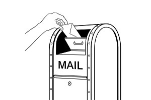 Sending letter to mail box coloring book vector