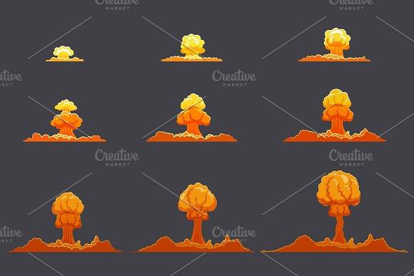 Bright Flat Explosion Animation Set