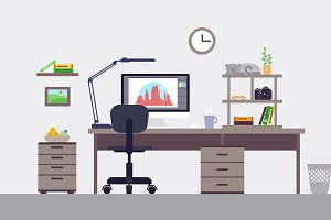 Colorful Designer Workspace Concept