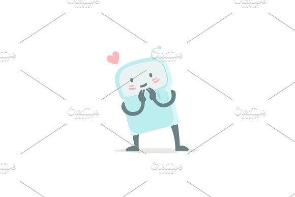 Robot Toy Love You And Shy Cute Small New Emoji Sticker Icon Very Cute For Child Kid Picture With Heart You Are Beautiful Flat Color Vector Illustration