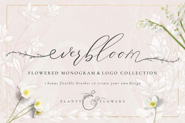Logo Templates: Olya.Creative - Flowered Monogram & Logo Collection