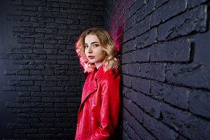 Studio portrait of blonde girl