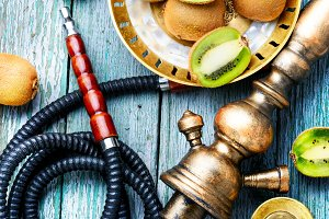 Still life with kiwi hookah