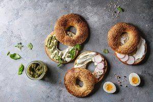 Bagels with cream cheese