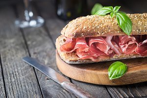 Sandwich with jamon serrano and basi