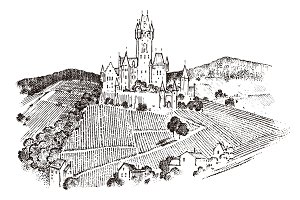 Castle on a hill. Ancient Landscape for the label. Engraved Hand drawn sketch in vintage victorian style. Travel to Europe to the historic building.